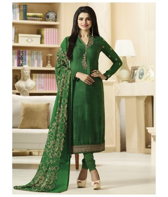 Dress Material - Green Party Creap Unstitched Dress Material With Dupatta - RK Fashions