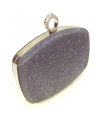 Silver Grey Toned Box Shaped Party Clutch with Sling Strap by Boga (Clutch-PPC14)