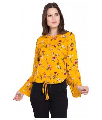 LeSuzaki Womens Yellow Color Poly Crepe Top with Floral Print