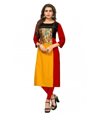 Red & Yellow Plain & Embroidered Rayon Full Stitched Kurtis - RK Fashions