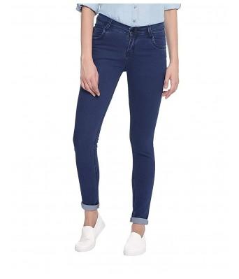 Ansh Fashion Wear Womens Regular Fit Denim Strechable Round Pocket Plain Pattern Dark Blue Color Jeans