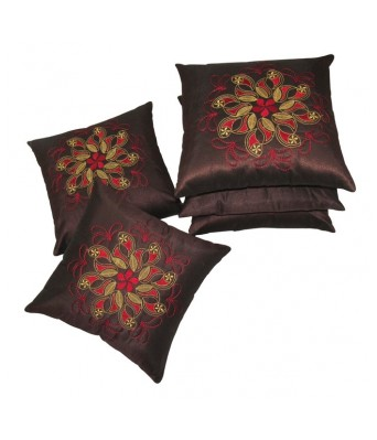Tempting Embroidered Brown Cushion covers Set Of 5 (40X40 cms)