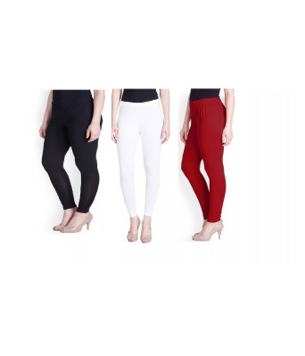 Kaym Multicolor ( White,Red,Black) Cotton Leggings for Women Combo(Pack of 3)