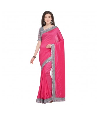 Triveni Pink Chanderi Silk Party Wear Lace Saree