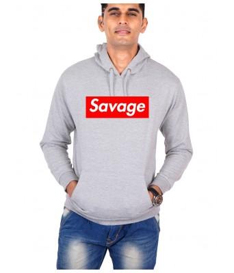 iLyk Mens Grey Color Savage Printed Hoodie with side pocket