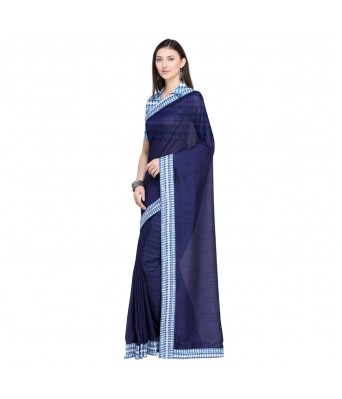 Triveni Navy Blue Chanderi Silk Office Wear Lace With Blouses  Sarees