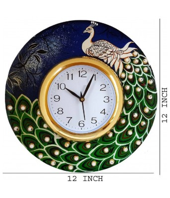 V Brown Blue Green Color Shaped Feather Antique Wooden Analog Wall Clock