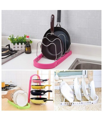 PREM ZONE Adjustable 4 Layers Frying Pan Pot Dish Holder Rack - Kitchen Organizer- tawa Rack Holder Stand Plate Dish lid Tray Utensils- Heavy Duty Metal Compartments-Lid Cookware Stand