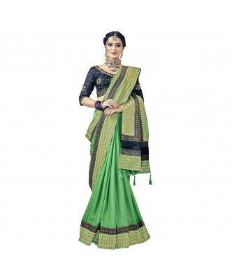 Triveni Green Satin Party Wear Plain Saree