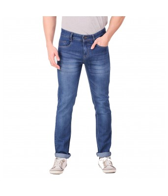Ansh Fashion Wear Mens Regular Fit Denim Strechable Round Pocket Light Faded Dark Blue Jeans