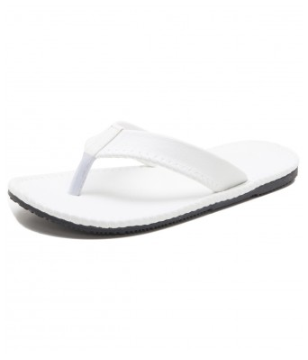Iroo White Solid Patent Leather Slippers