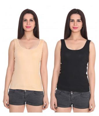 Ansh Fashion Wear Color Cotton Spaghetti Pack Of 2