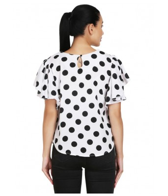 Shanvi White Black Printed Womens Top
