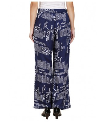 Shanvi Navy Blue News Printed Womens Plazzo