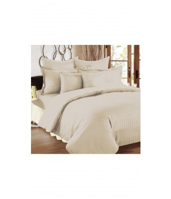 V Brown Supreme Quality Satin Fabric Striped Pattern King Sized Bedsheet With 2 Pillow Covers