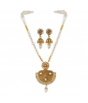 Aradhya Gold Plated Copper Traditional Designer Temple Coin Necklace with Earrings for Women and Girls