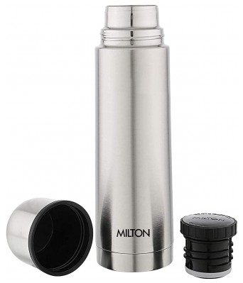 Milton Plain Lid 1000 Thermosteel 24 Hours Hot and Cold Water Bottle  1000 ml  Silver
