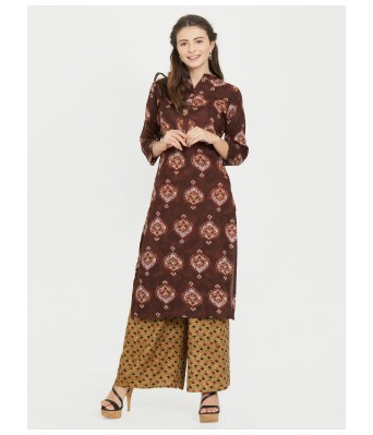 Coffie Printed  Rayon Full Stitched Kurtis - RK Fashions