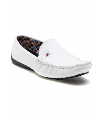 iroo Mens White Synthetic Leather Loafer Shoes