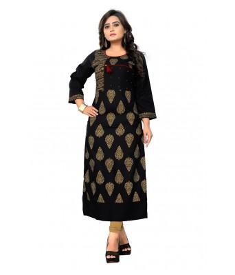 Black Block Printed Rayon Full Stitched Kurtis - RK Fashions
