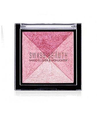 Swiss Beauty Baked Blusher & Highlighter ~ Combining 2 Blusher with 2 Highlighters ~ 7g  ColorSet-03