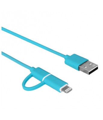 Bluei Metal Fast Sync Flat Wire 2.4 Amp Premium 2 in 1 Data Cable DC-202 Micro and IPhone  With 6 Month Warranty