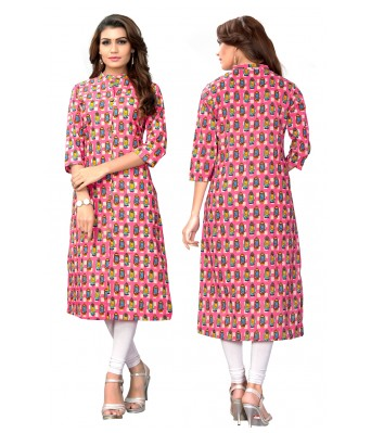 Multi Color Printed Slab Cotton Full Stitched Kurtis - RK Fashions