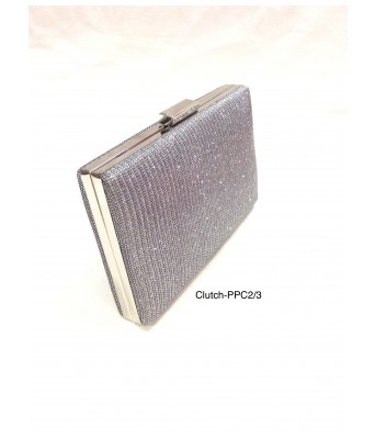 Silver Toned Box Shaped Shimmery Clutch with Sling Strap by Boga (Clutch-PPC2)