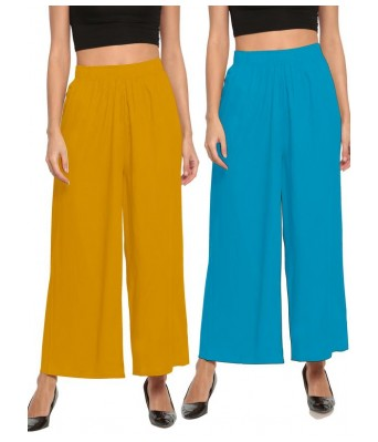 The Moon Sky Blue and Musterd Yellow Stlyist Woman Palazzo 2 Piece Combo