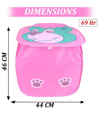 HOMIZE Cute Bear Face Print Multipurpose Foldable Square 69 Litter Pop Up Laundry Basket Bag, Pink
