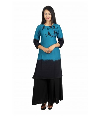 V Brown Womens Kurti with Plazzo