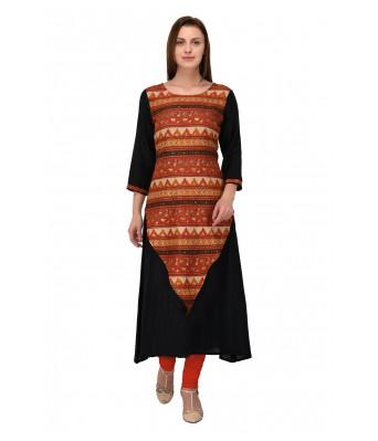 Multi Color Printed Rayon & Manipuri Silk Full Stitched Kurtis - RK Fashions