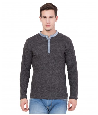American-Elm Men's Dark Grey Solid Design Full Sleeve T-Shirt