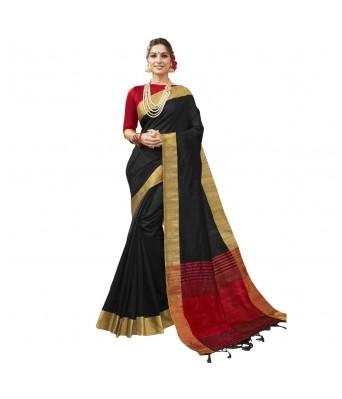 Triveni Black Art Silk Woven Festival Sarees