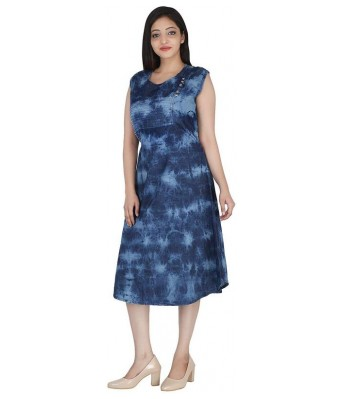 Romile Womens Denim Dress with Round Neck for Womens & Girls