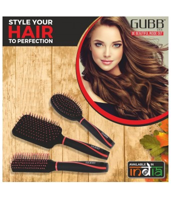 GUBB USA (Vogue Range) Plastic Styling Hair Brush For Men and Women, Black