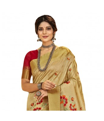Shakunt Weaves Beige Color Art Silk Party Wear Embroidered Saree