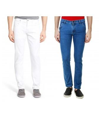 Ansh Fashion Wear Mens Denim Jeans - Contemporary Regular Fit Denims for Men -  Blue & White - Pack of 2