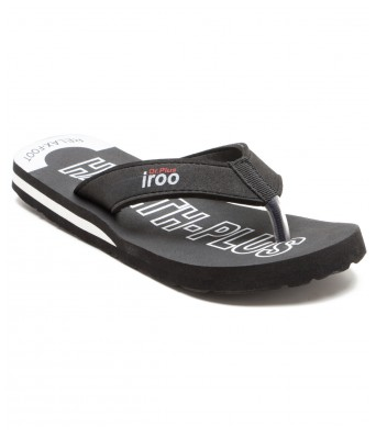 iroo Black casual solid SlipOn Chappals