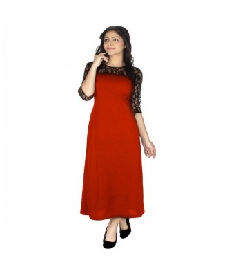 StarShop20 Red Solid A-line Maxi Dresses