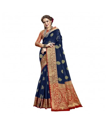 Triveni Navy Blue Cotton Silk Festival Wear Woven Saree