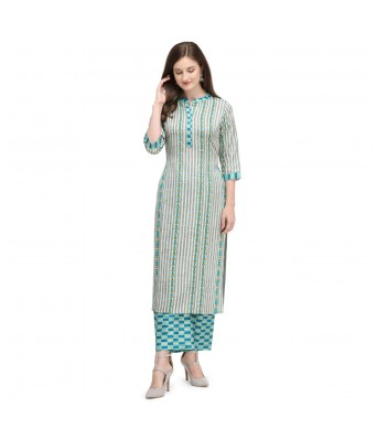Straight Kurti with Checkered Pant for Women and Girl Printed cotton (Green)