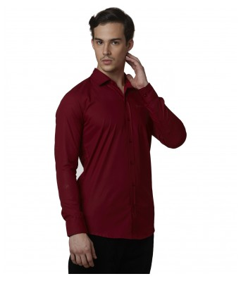 Lisova Maroon Mens Plain Formal Slim Fit Shirt