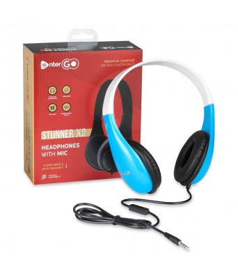 Enter-Go Stunner X2 Wired Headphone - for PC  Mobile  Tablet  Music Player (iPod  ipad) (White+Blue)