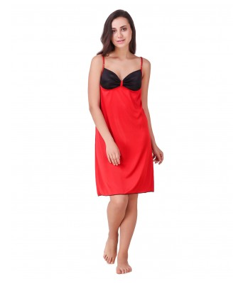 Ansh Fashion Wear Womens Nightwear Set Satin Fabric Red & Black Color 1 Full Length Gown 1 Short Nighty 1 Rob Pack of 3