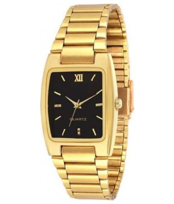 SHREE SHOPEE Casual Gold Strap Black Dial Fancy Look Boys & Girls Watch - For Men