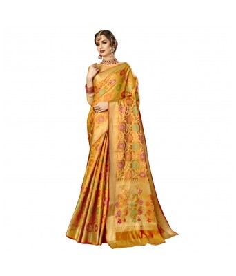 Triveni Yellow Color Jacquard Silk Party Wear Woven Saree for Woman and Girls