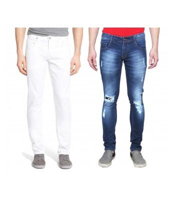 Ansh Fashion Wear Mens Denim Jeans - Contemporary Destress Regular Fit Denims for Men -  Blue & White - Pack of 2