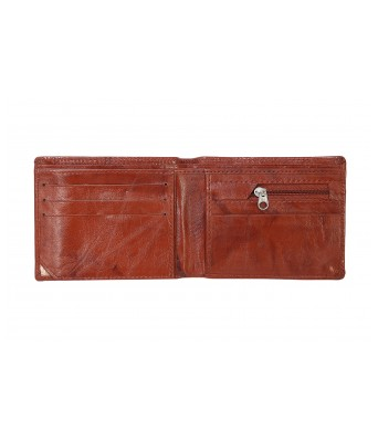 Lisova Tan Brown Solid Genuine Leather Two Fold Wallet