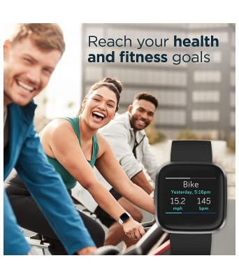 Fitbit FB507BKBK Versa 2 Health & Fitness Smartwatch with Heart Rate, Music, Alexa Built-in, Sleep & Swim Tracking, Black/Carbon, One Size (S & L Bands Included) (Black/Carbon)